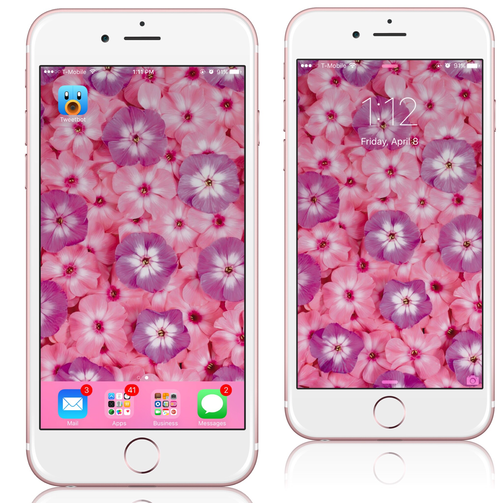 Styling Pink & Lavender Flowers Wallpaper On My IPhone 6s